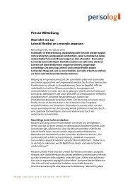 Presse-Mitteilung - Persolog GmbH
