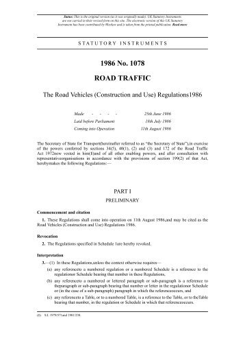 Use of highway and rules of the road regulation for Construction rules and regulations