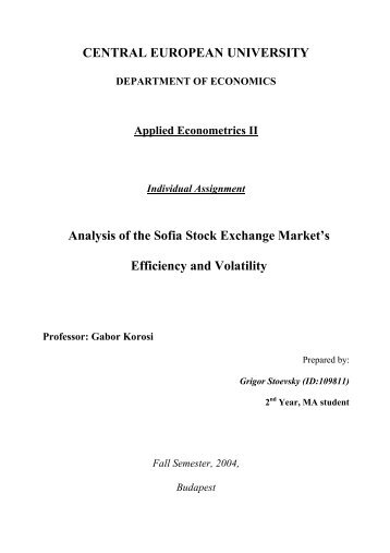 Analysis of the Sofia Stock Exchange Market's Efficiency and Volatility