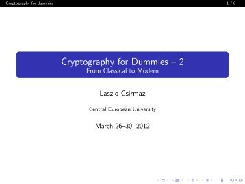 Cryptography for Dummies - Personal pages of the CEU - Central ...