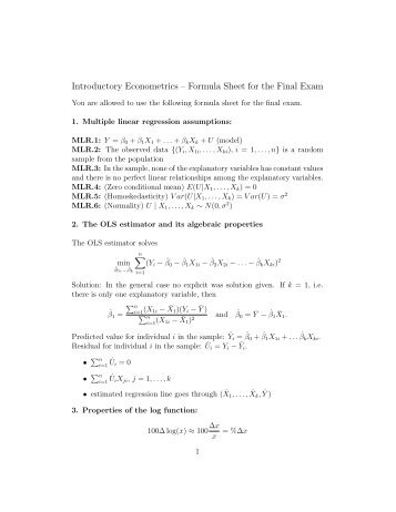 Introductory Econometrics – Formula Sheet for the Final Exam