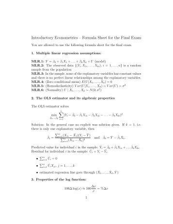 Introductory Econometrics – Formula Sheet for the Final Exam