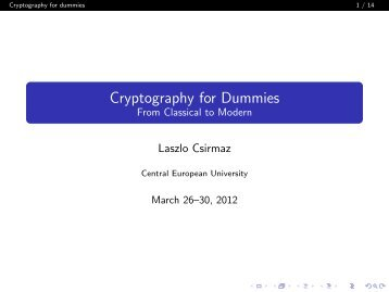 Cryptography for Dummies From Classical to Modern