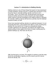 Lecture 11—Introduction to Settling Velocity ... - Personal.kent.edu