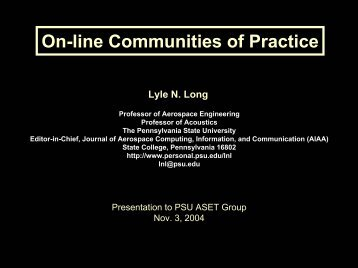 On-line Communities of Practice - Penn State Personal Web Server