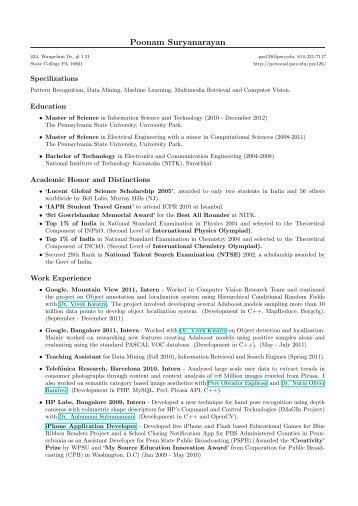 Poonam Suryanarayan - Penn State Personal Web Server
