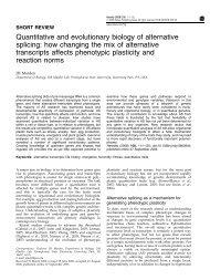 Quantitative and evolutionary biology of alternative splicing: how ...