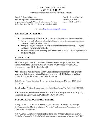 CURRICULUM VITAE OF - Penn State Personal Web Server