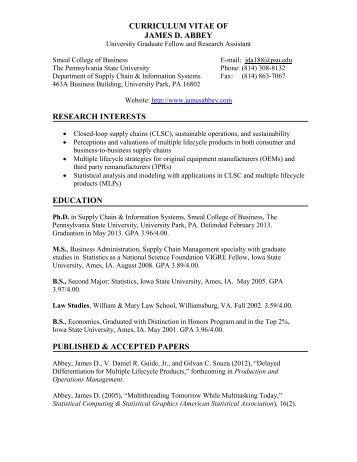 CURRICULUM VITAE OF - Penn State Personal Web Server