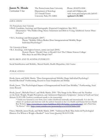 Jason Houle - Penn State Personal Web Server - Penn State ...