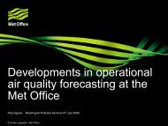 Developments in operational air quality forecasting at the Met Office