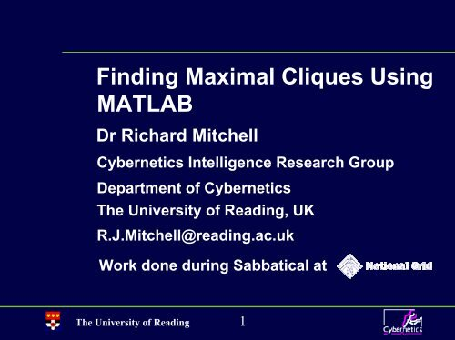 Maximal Cliques in MATLAB - University of Reading