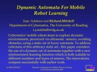 Dynamic Automata For Mobile Robot Learning - The University of ...