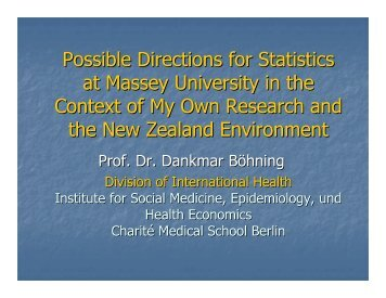 Possible Directions for Statistics at Massey University in the Context ...