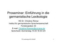 Proseminar: Einführung in die germanistische Lexikologie