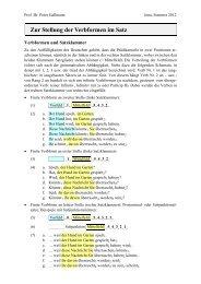 Zur Stellung der Verbformen im Satz