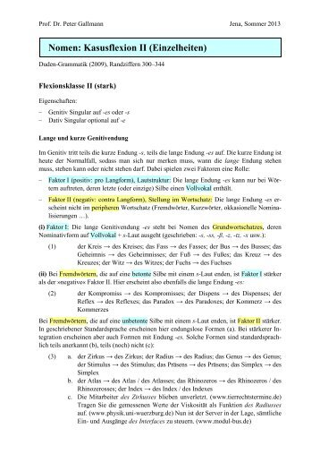Nomen: Kasusflexion II (Einzelheiten)