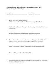Abschlussklausur 'Allgemeine und Anorganische Chemie' Teil 1