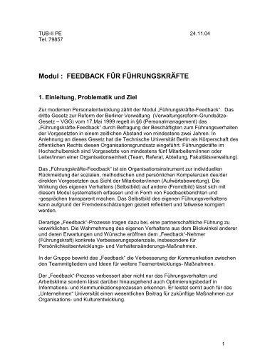 FEEDBACK FÜR FÜHRUNGSKRÄFTE - der Personalabteilung