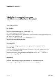 Tabelle für die tageweise Berechnung von Zeiträumen im ...