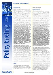 Policy briefing 5 Alcohol and injuries - EuroSafe