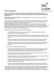 Press release CSAP II Fianl report - EuroSafe