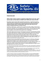 PRESS RELEASE Safety in Sports two Factsheets - EuroSafe