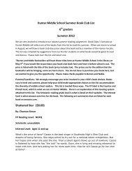 Hunter Middle School Summer Book Club List 6 graders Summer ...