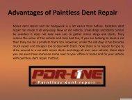 Advantages of Paintless Dent Repair