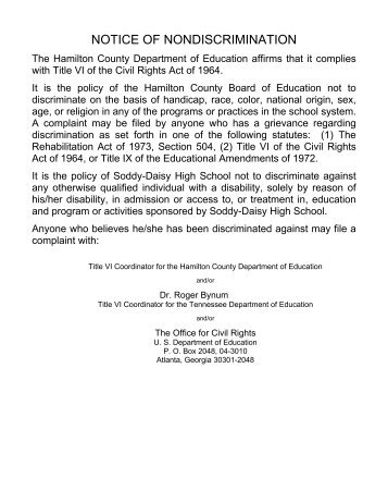 NOTICE OF NONDISCRIMINATION - Hamilton County Department ...