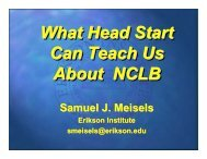 Head Start Can Teach Us About NCLB - Erikson Institute