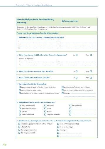 Erhebungsbogen für die Einrichtung - Familienbildung in NRW