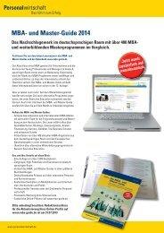 MBA- und Master-Guide 2014 - Personalwirtschaft