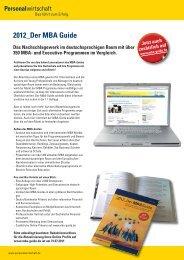 FACTSHEET MBA 2011:Layout 1 - Personalwirtschaft