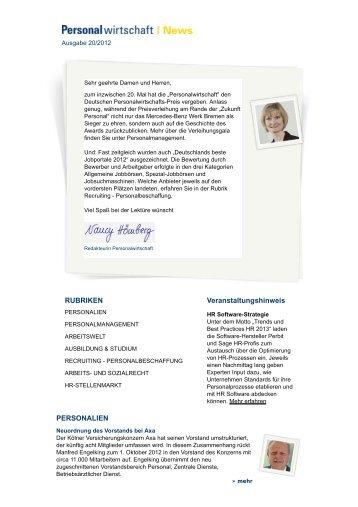 Newsletter lesen - Personalwirtschaft
