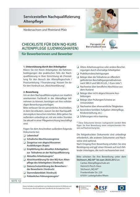 Checkliste Fã¼r Den Nq Kurs Altenpflege Ludwigshafen