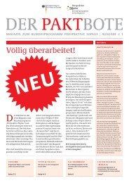 Der Paktbote 1/2011 - Perspektive 50plus