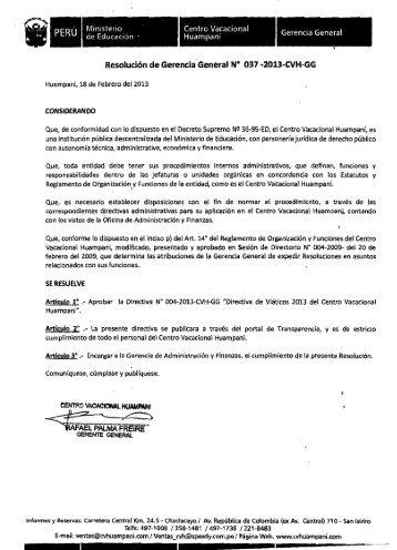 Directiva de Viáticos 2013 - Portal del Estado Peruano