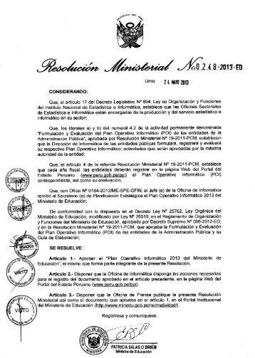 Plan Operativo Informatico 2013 - Portal del Estado Peruano