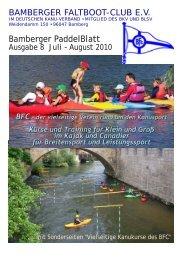 Bamberger Paddelblatt Ausgabe 8 Juli - August 2010