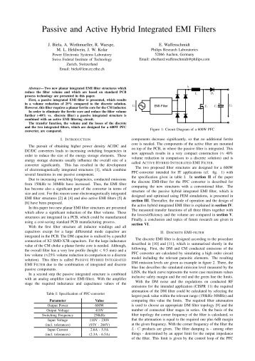 Passive and Active Hybrid Integrated EMI Filters - Power Electronics ...
