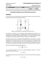 Kaskadierte Regelung einer Gleichstrommaschine, Musterlösung