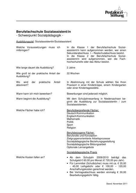 Informationsblatt Zur Ausbildung An Der Berufsfachschule