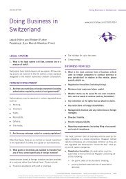PLC Cross-border Doing Business in Switzerland Handbook 2010