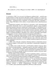 Beszámoló a Pest Megyei Levéltár 2009. évi munkájáról