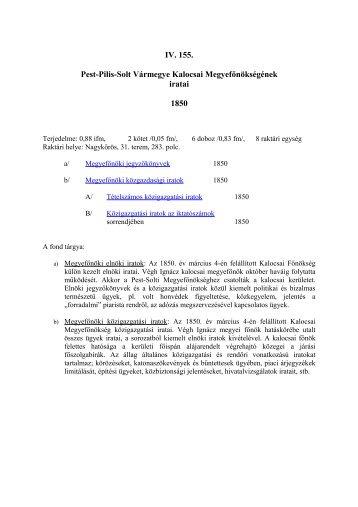 IV. 155. Kalocsai Megyefőnökség iratai - Pest Megyei Levéltár