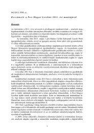 Beszámoló a Pest Megyei Levéltár 2011. évi munkájáról