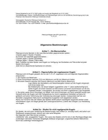 Dieses Regelheft ist ab 01 - Deutscher Pétanque Verband e.V.