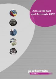 Annual Report and Accounts 2012 - Petards Group plc