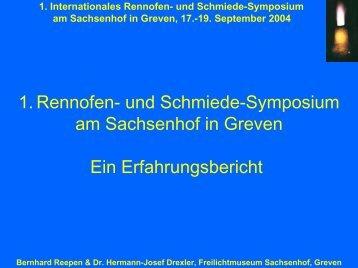 1. Rennofen- und Schmiede-Symposium am Sachsenhof in Greven ...